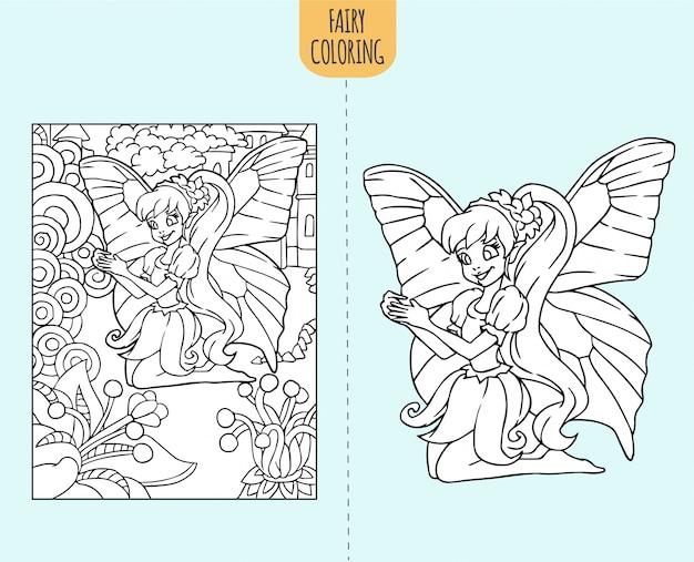 Hand getekende fee kleurboek pagina-afbeelding voor kinderen