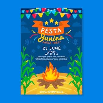 Hand getekende festa junina kampvuur poster