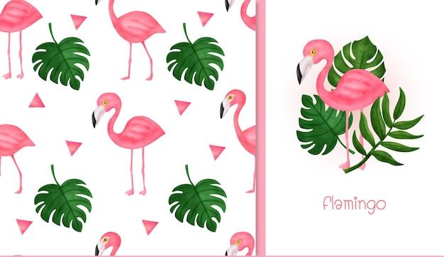 Hand getekende flamingo naadloze patroon