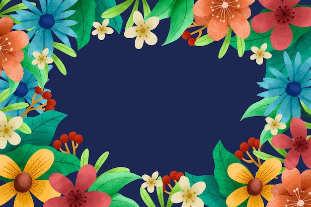 Hand getekende florale achtergrond Gratis Vector