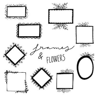 Hand getekende frames en bloemen collectie