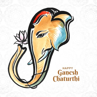 Hand getekende ganesh chaturthi mooie kaart achtergrond