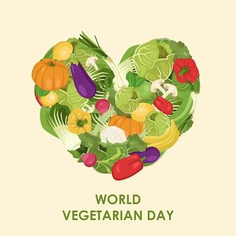 Hand getekende gelukkige wereld vegetarische dag illustratie