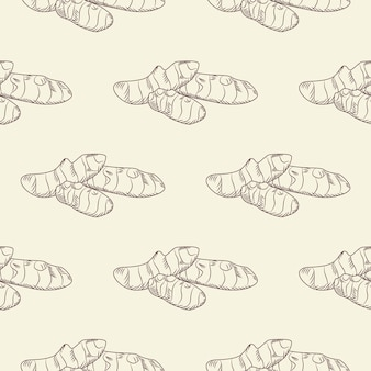 Hand getekende gemberwortel naadloze patroon. gember behang. gravure vintage stijl achtergrond. ontwerp voor inpakpapier, textielprint. vector illustratie
