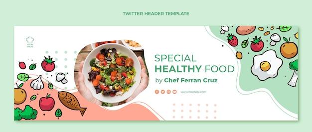 Hand getekende gezonde voeding twitter header