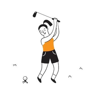 Hand getekende golfspeler met club. golfers in doodle stijl. geïsoleerde vectorillustratie op witte achtergrond