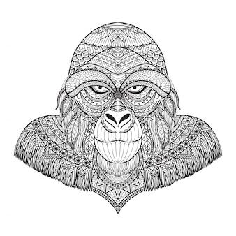 Hand getekende gorilla achtergrond
