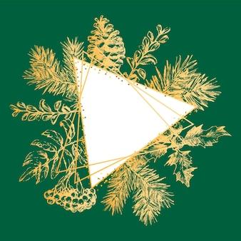Hand getekende gouden frame kerstmis en nieuwjaar uitnodigingskaart. hand getekend vectorillustratie van retro krans op lichte achtergrond. wintervakantie collectie