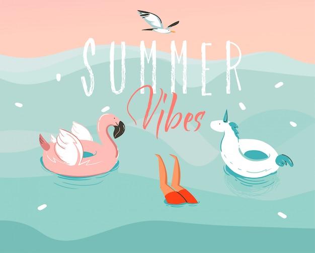 Hand getekende grafische illustratie met een springende zwemmende jongen met een eenhoorn en flamingo rubberen ring en summer vibes typografie geïsoleerd op oceaan golf achtergrond