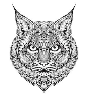 Hand getekende grafische sierlijke bobcat met etnische floral doodle patroon. illustratie voor kleurboek, tatoeage, print op t-shirt, tas. op een witte achtergrond.