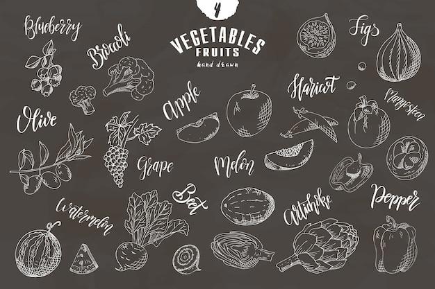 Hand getekende groenten en fruit