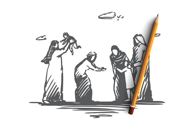 Hand getekende grote moslimfamilie, oude en jonge generaties concept schets