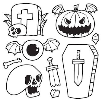 Hand getekende halloween doodle cartoon kleuren ontwerp