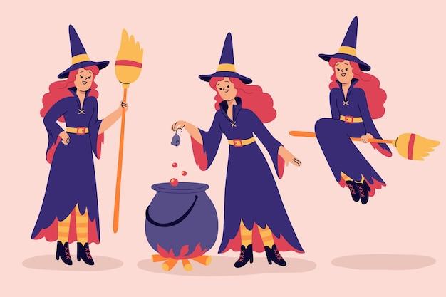 Hand getekende halloween heksen collectie