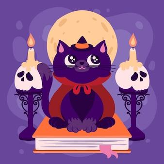 Hand getekende halloween kat illustratie