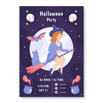 Hand getekende halloween party poster geïllustreerd