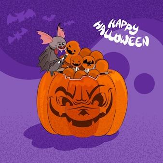 Hand getekende halloween pompoen illustratie