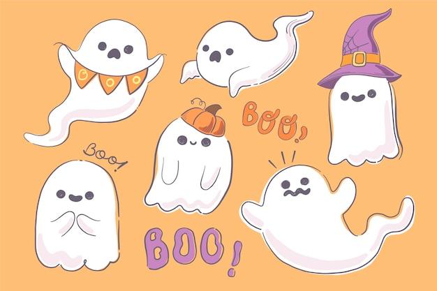 Hand getekende halloween spookillustratie