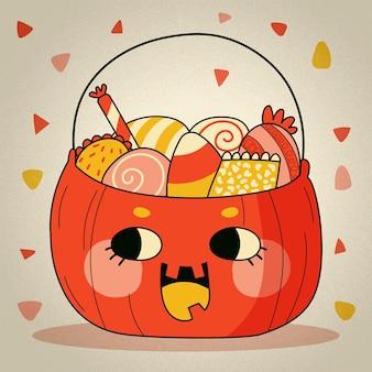 Hand getekende halloween tas illustratie