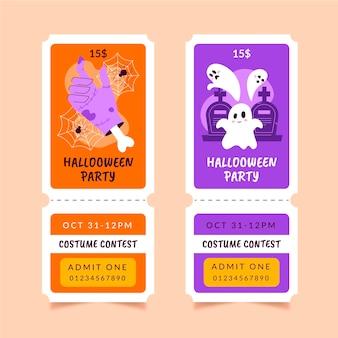 Hand getekende halloween tickets set