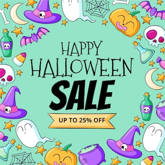 Hand getekende halloween verkoop illustratie
