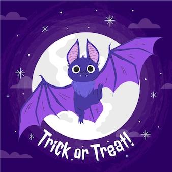 Hand getekende halloween vleermuis illustratie