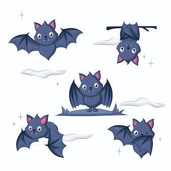 Hand getekende halloween vleermuizen illustratie