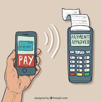 Hand getekende hand betalen met smartphone