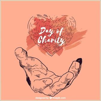 Hand getekende hand houden hart
