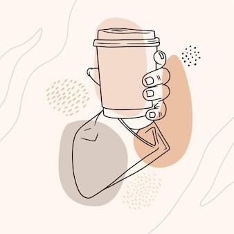 Hand getekende hand met koffie in zeer fijne tekeningen