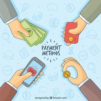 Hand getekende handen betalen