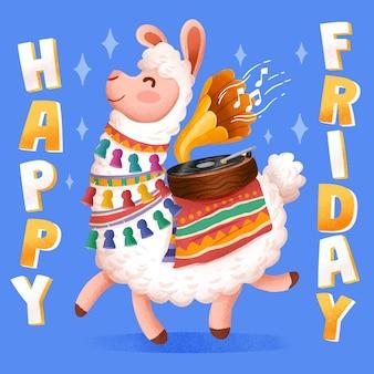 Hand getekende happy friday alpaca illustratie