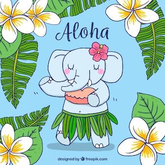 Hand getekende hawaiiaanse olifantachtergrond