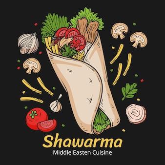 Hand getekende heerlijke shoarma illustratie