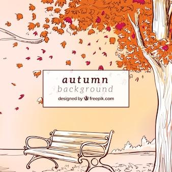 Hand getekende herfst achtergrond met bankje een boom