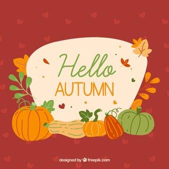 Hand getekende herfst samenstelling met pompoenen