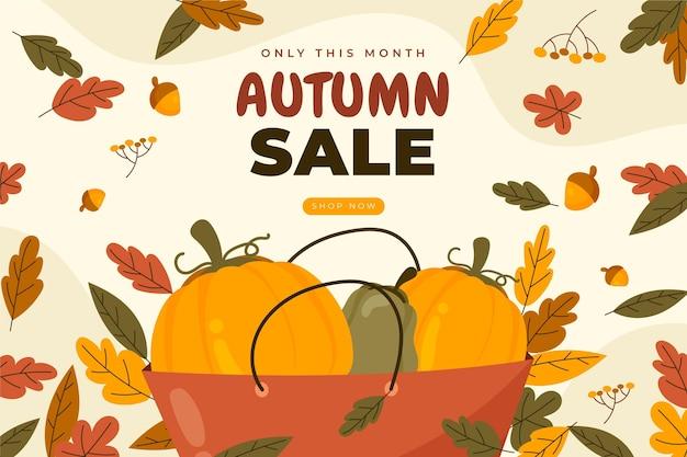 Hand getekende herfst verkoop achtergrond
