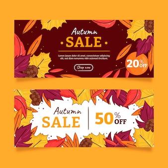 Hand getekende herfst verkoop banners set