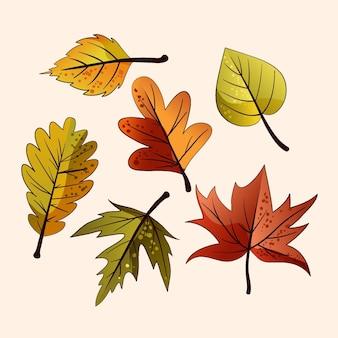 Hand getekende herfstbladeren set