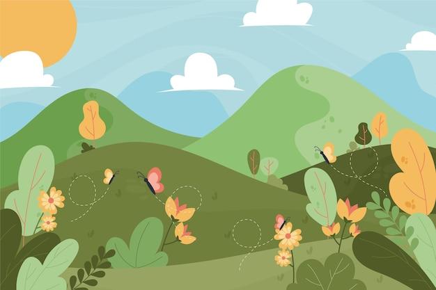 Hand getekende heuvels landschap