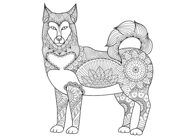 Hand getekende hond achtergrond