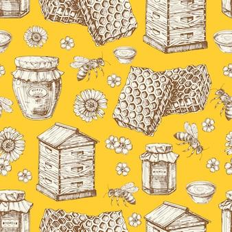 Hand getekende honing naadloze patroon met potten, bijen, bloemen en bijenkorf