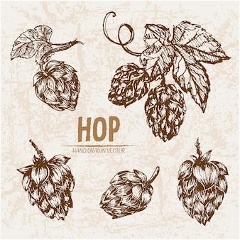 Hand getekende hop collectie