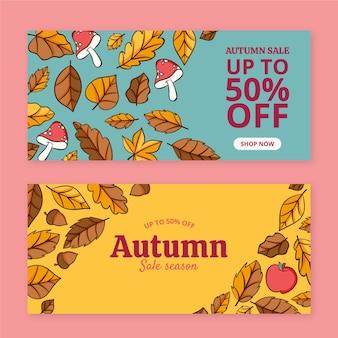 Hand getekende horizontale herfst verkoop banners set