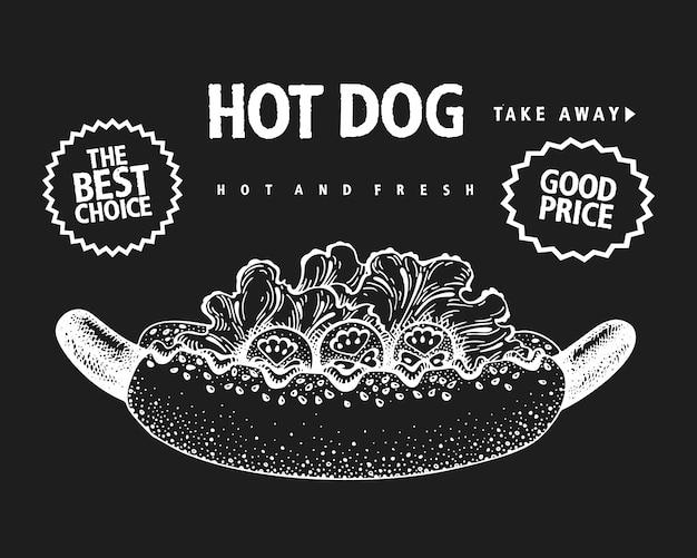 Hand getekende hotdog banner.