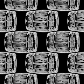Hand getekende houten vat naadloze patroon op blackboard. vat behang. gravure vintage stijl achtergrond. ontwerp voor inpakpapier, textielprint. vector illustratie