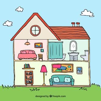 Hand getekende huis binnenlandse achtergrond