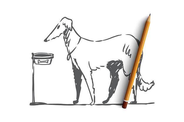 Hand getekende huis hond wandelen concept schets