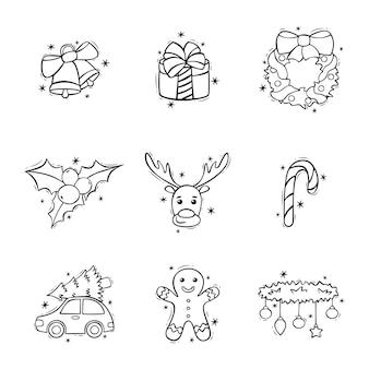 Hand getekende icon set van kerstversiering in doodle stijl kerstmis en nieuwjaar doodles