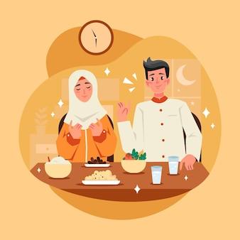 Hand getekende iftar illustratie